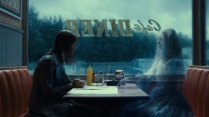 Victoria in a diner with the ghost of Josette from the film Dark Shadows.